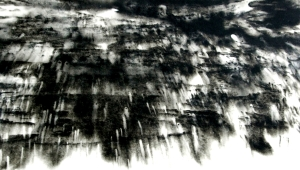 Sumi ink, acrylic, Japanese washi paper on canvas 25.3×35.6cm Exhibited: EWA Kyoto Exhibition 2014